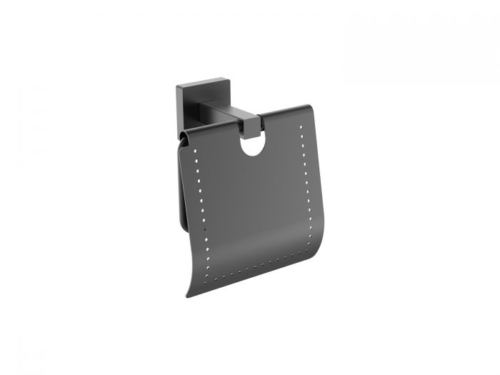 Cubo Black Toilet Paper Holder With Cover