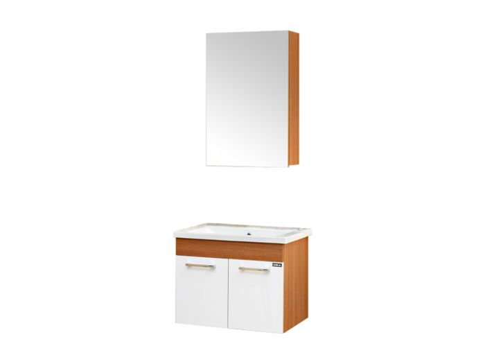Mars Teak Wall Hung Cabinet and Mirror Cabinet 600 x 450 x 500mm