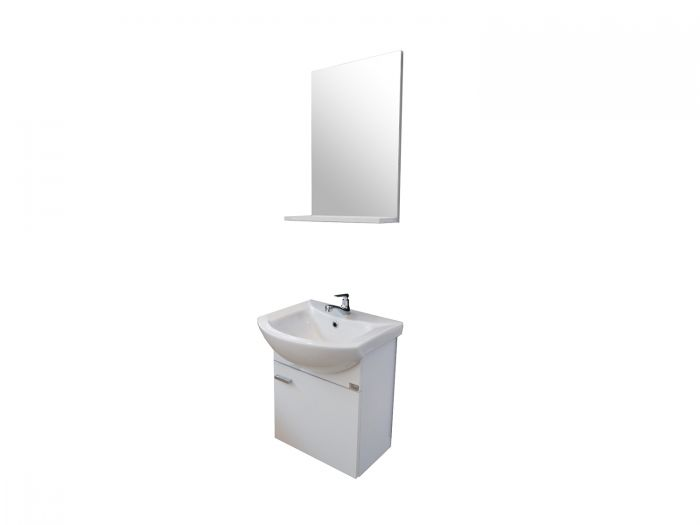 Dore Life White Wall Hung Cabinet and Mirror With Shelf - 450 x 400 x 550mm
