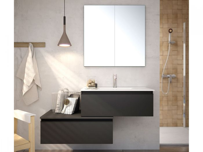 Toscana Black Wall Hung Cabinet and Mirror Cabinet